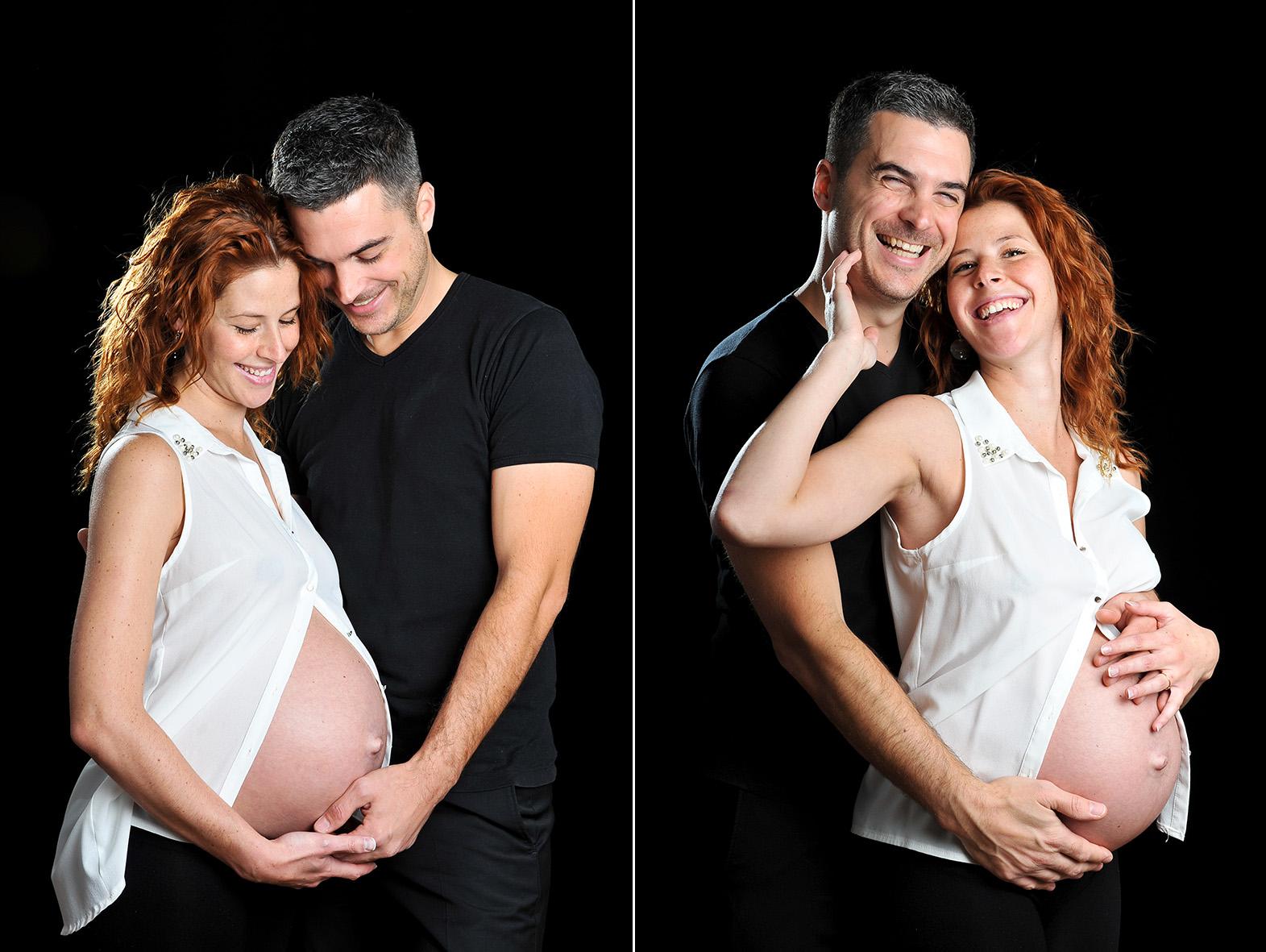 diptyque couleur d'un couple de futurs parents en studio en séance maternité