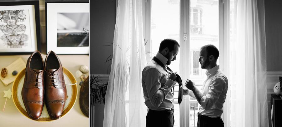 habillage du marié et détail chaussures