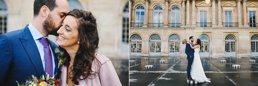 couple de mariés colonnes de Buren à Paris couleur