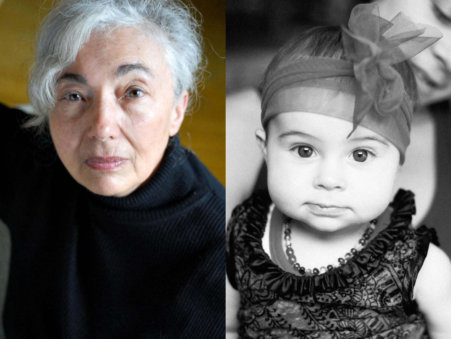 diptyque femme âgée et bébé fille