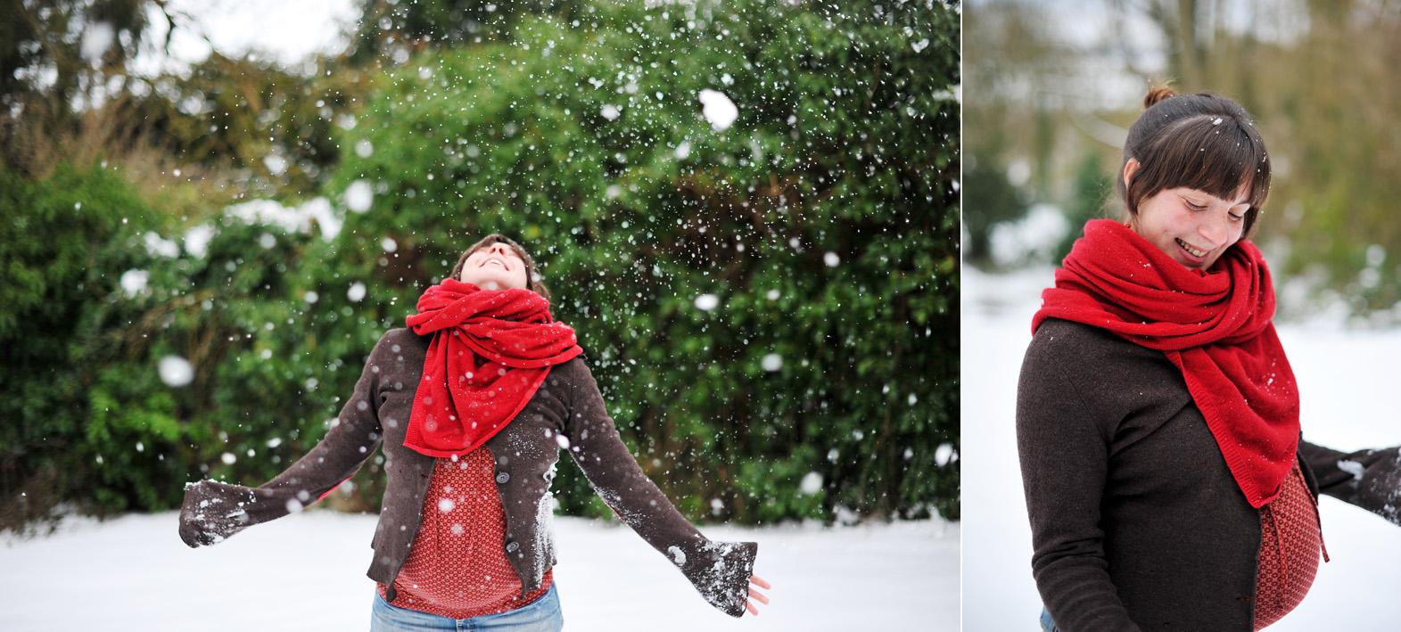 diptyque d'une femme enceinte avec la neige