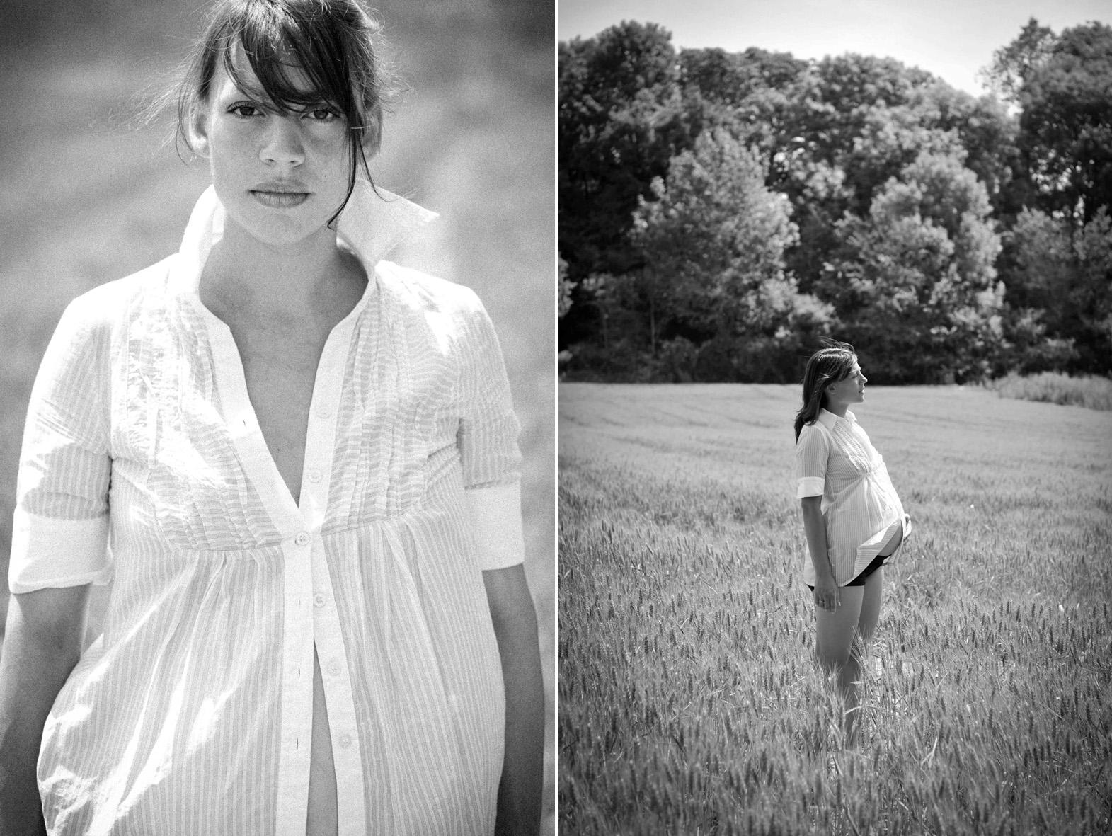 diptyque d'une femme enceinte dans un champ de blé