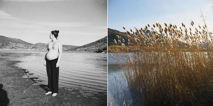 diptyque d'une femme enceinte au bord d'un lac