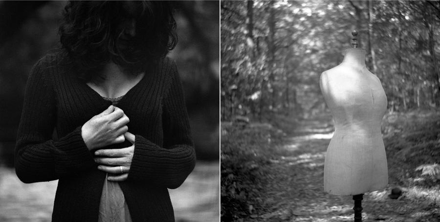 diptyque bustes de femmes en forêt dans le val d'Oise