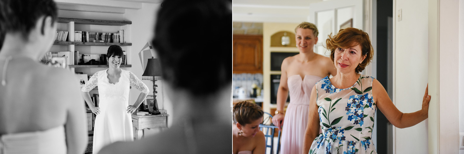 diptyque, une mère bouleversée en regardant sa fille habillée en robe de mariée