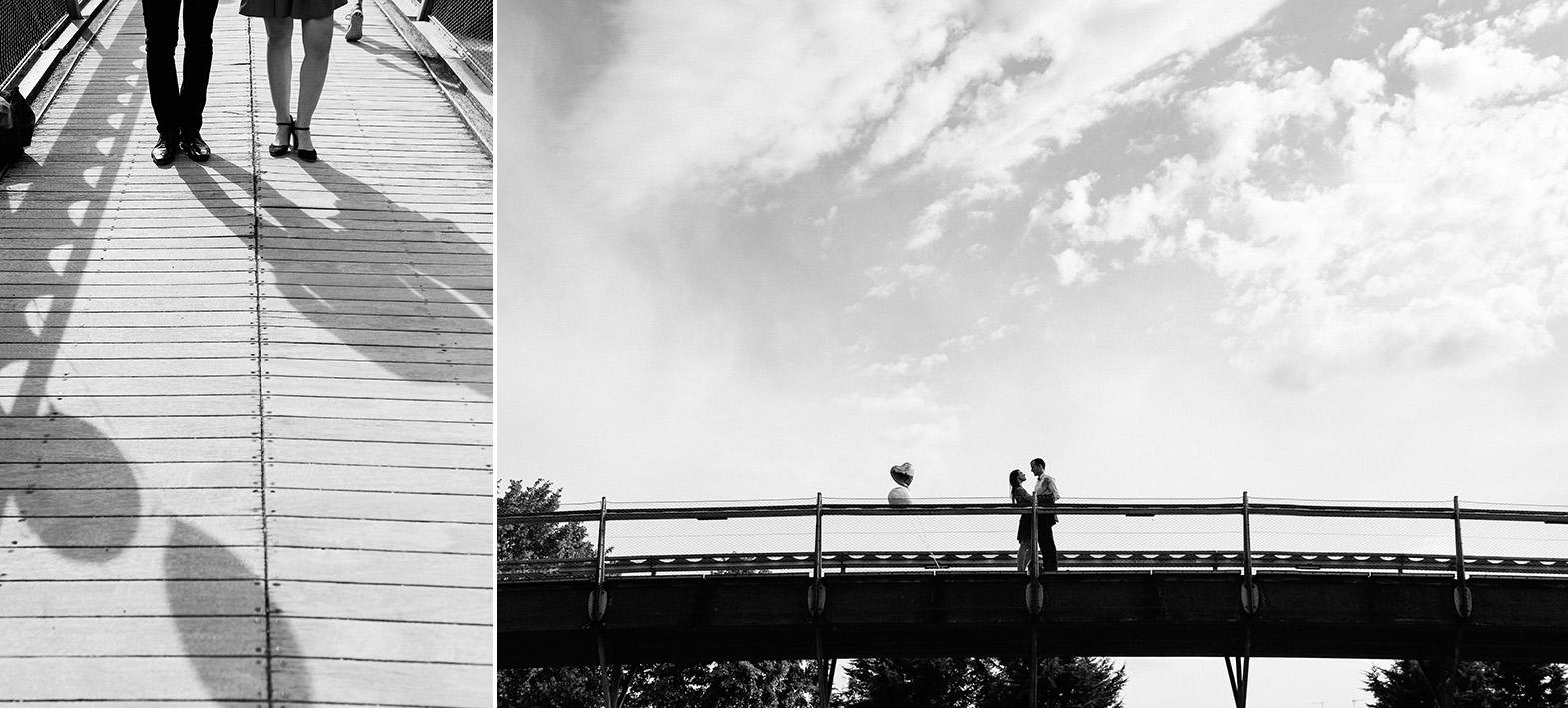 diptyque couple sur un pont dans un parc à Paris