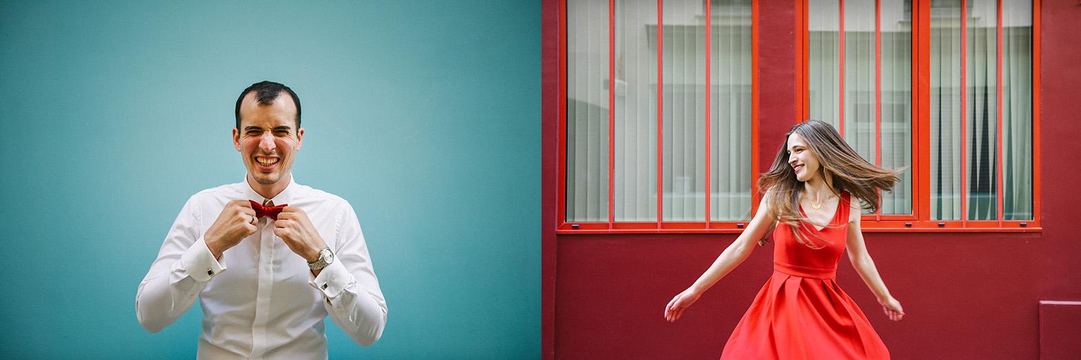 portraits devant des murs en couleur à PAris