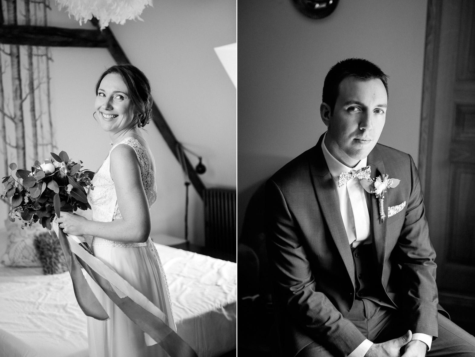 portrait de la marié et du marié pendant leurs préparatifs