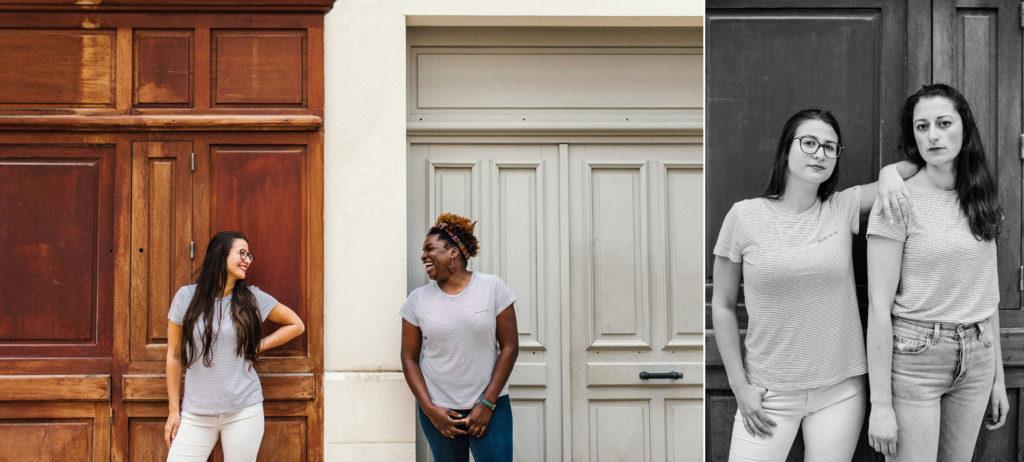 portraits de femmes devant une devanture de magasin en bois