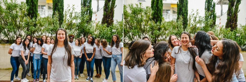 photo de groupe d'une future mariée et de ses amies