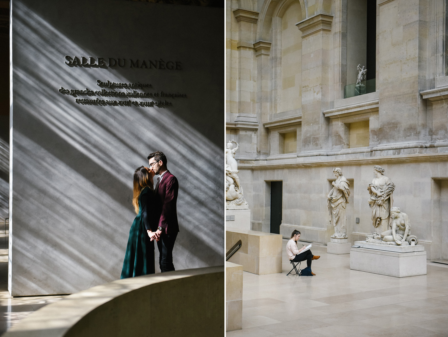 un couple s'embrasse dans un musée