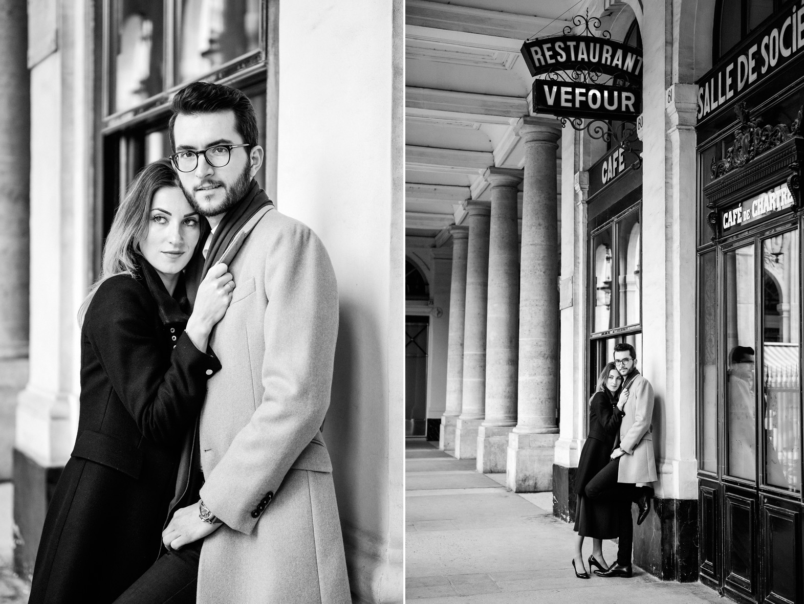 un couple s'enlace dans le centre de Paris