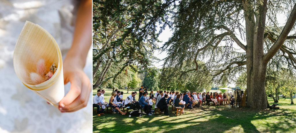 la cérémonie laïque sous un arbre dans un domaine du Lot-et-Garonne