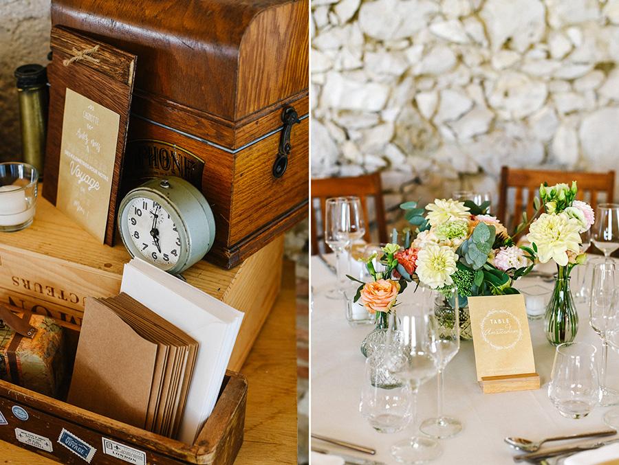 décoration champêtre et fleurs sur des tables pour la réception de mariage