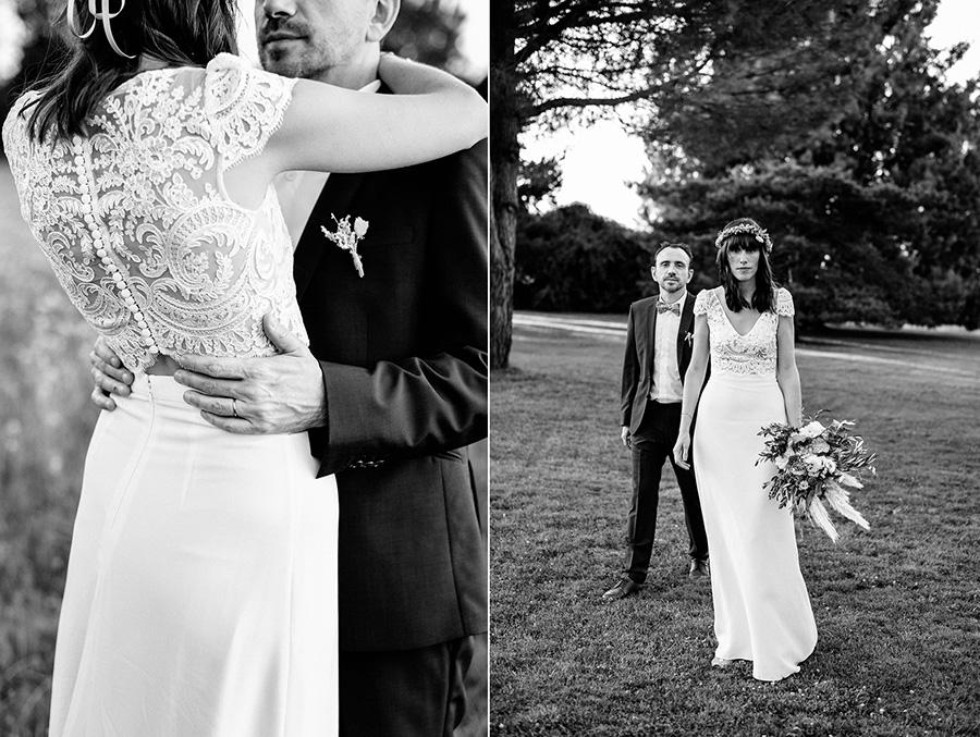 diptyque de photos de couple des mariés dans le parc du domaine