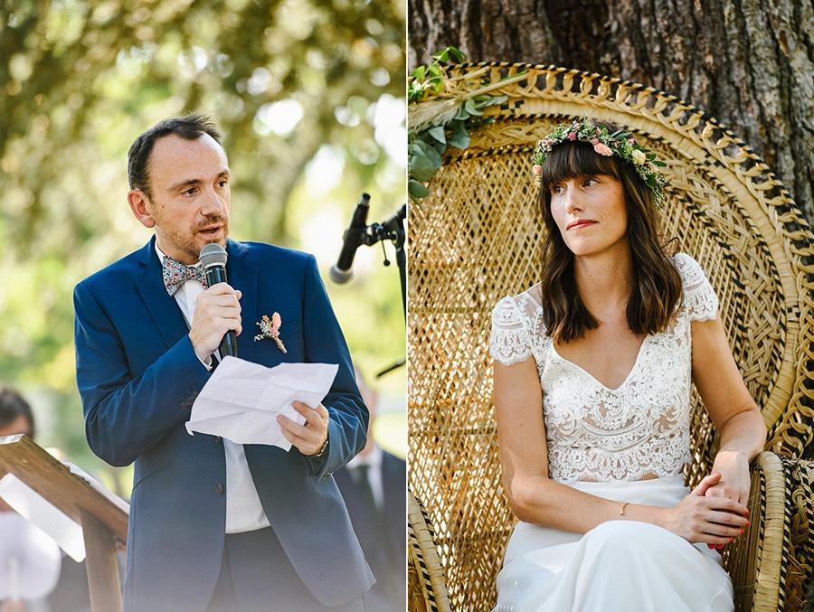 le marié fait son discours pendant la cérémonie laïque