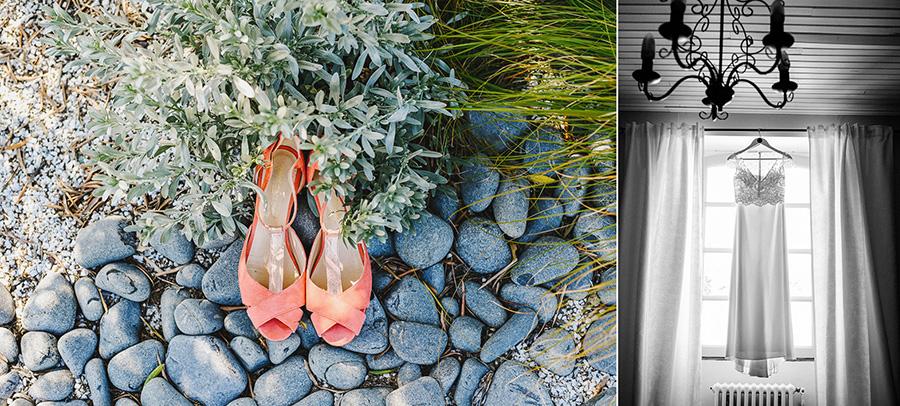 les chaussures et la robe de la mariée