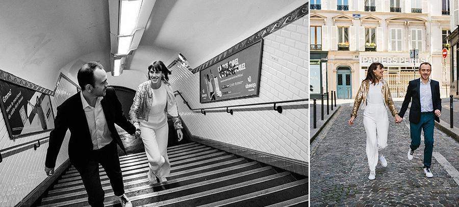 un couple court dans la rue et dans un escalier