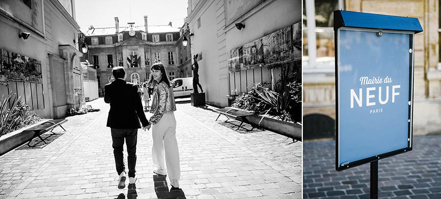 un couple de futurs mariés marche vers la mairie