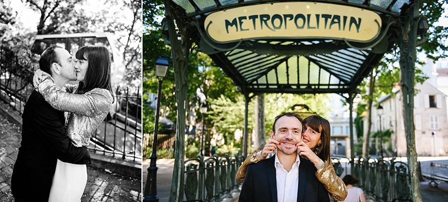 un couple s'embrasse devant l'entrée du métro sur la butte Montmartre