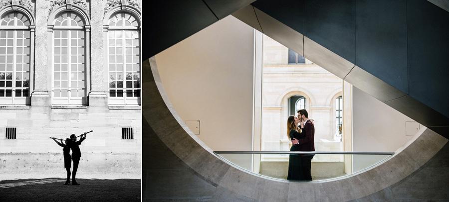 un couple s'embrasse dans un musée, un autre pose dos à dos