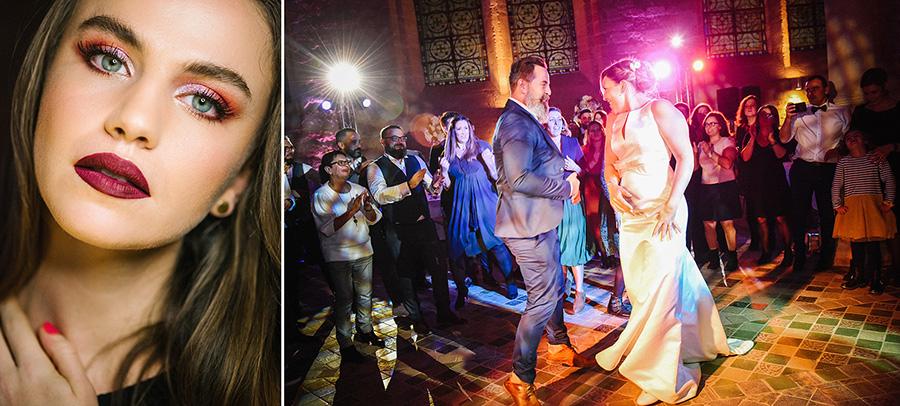 Un portrait de mannequin maquillée et un couple dansant pendant une soirée de mariage