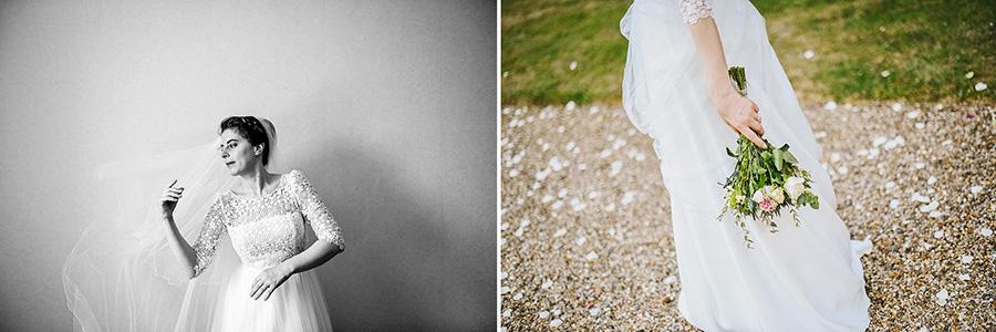 Une jeune mariée ajuste son voile et tient son bouquet