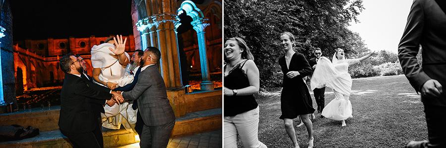 une mariée saute dans les bras des témoins, et une mariée court dans un jardins avec ses amis