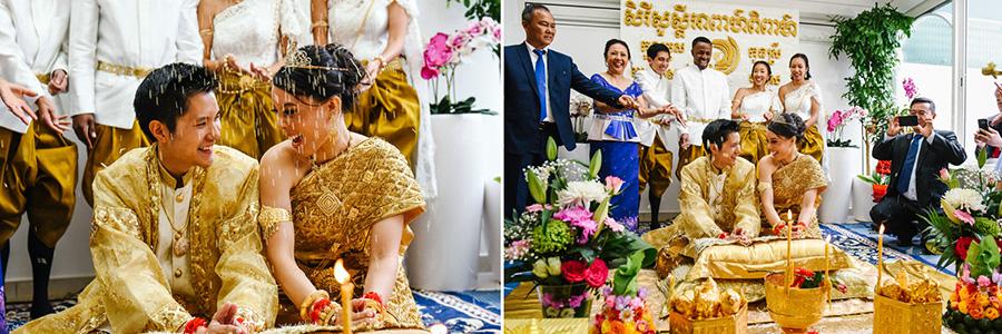 Un couple se regarde pendant la célébration de leur mariage traditionnel cambodgien