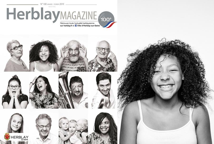 La Une du magazine de la ville d'Herblay représente des portraits en noir et blanc