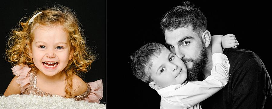 une petite fille sourit et un enfant s'accroche au cou de son père