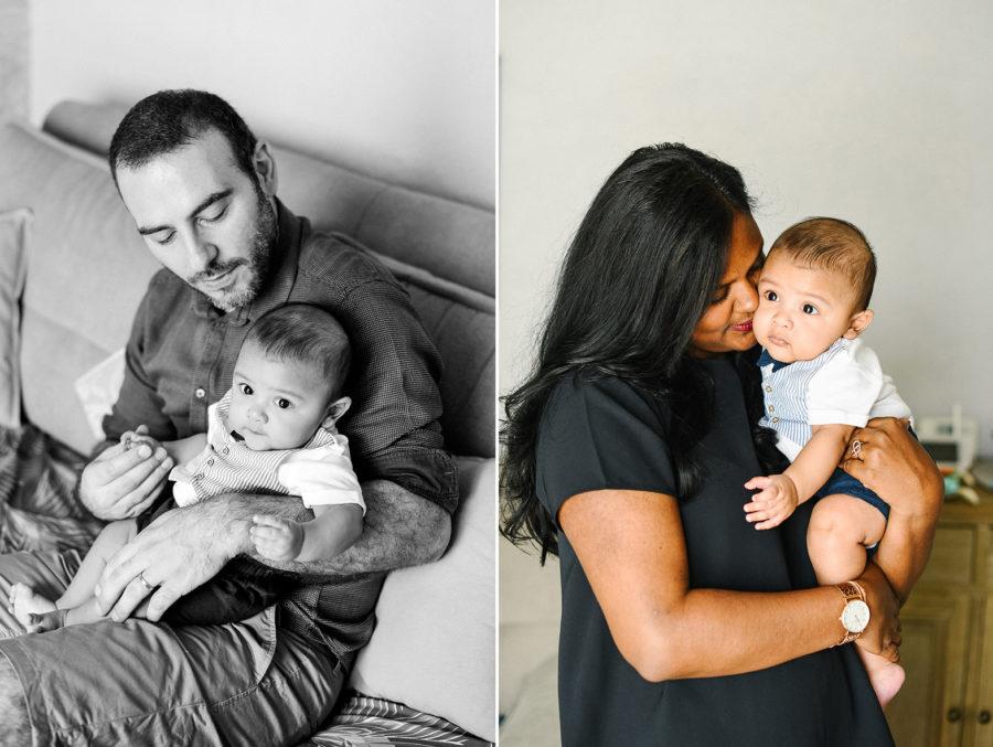 un père regarde son fils, et une mère embrasse son bébé