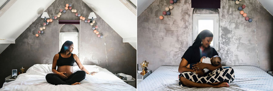 une femme pose enceinte sur un lit puis sur le même lit avec son nouveau-né