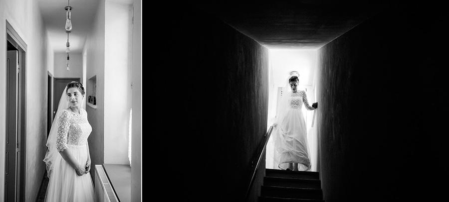 des portraits de la mariée en robe chez elle