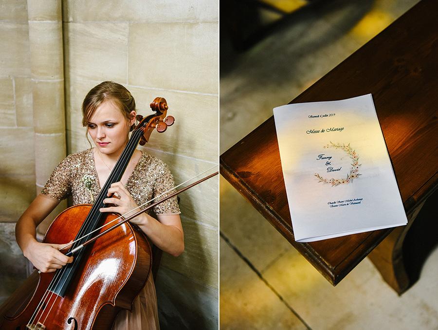 une femme jour du violoncelle pendant la cérémonie religieuse