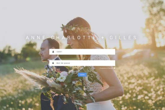 capture d'un écran d'ordinateur présentant la page d'accueil d'une galerie client