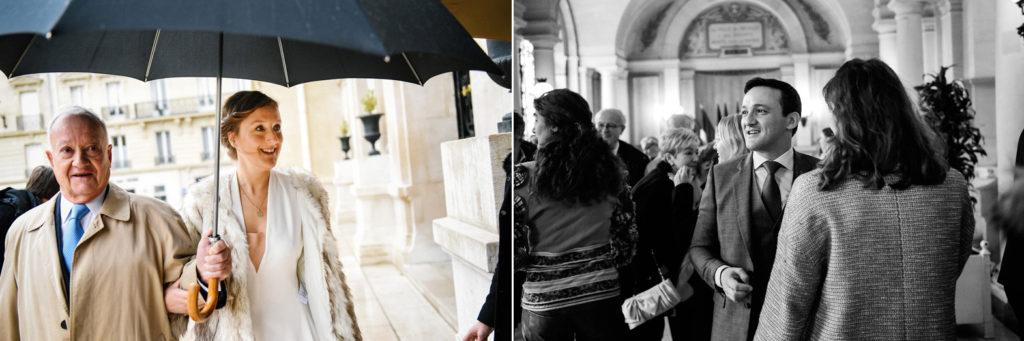 Les mariés arrivent séparément à la mairie