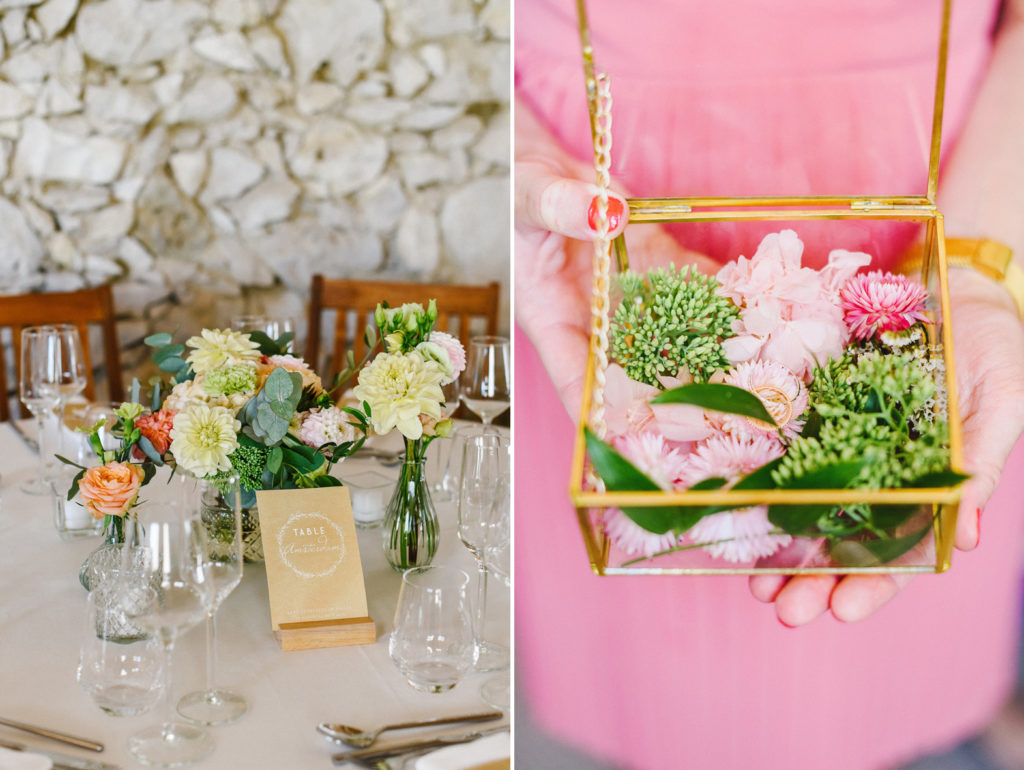 Un diptyque de la décoration florale d'un mariage