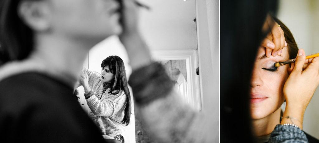 Une femme se fait maquiller dans l'atelier d'une maquilleuse professionnelle