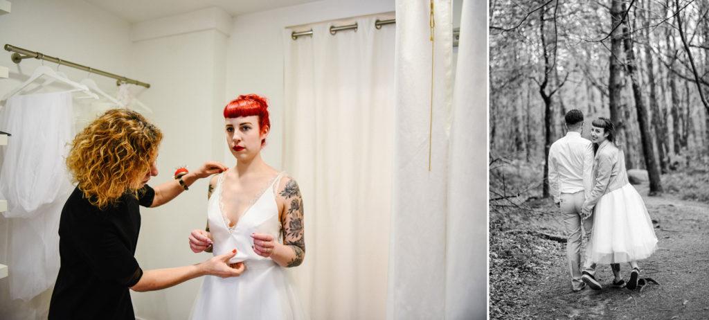 une couturière ajuste une robe de mariée sur son modèle
